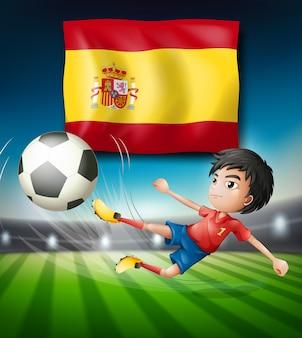 Bandera de españa y jugador de fútbol