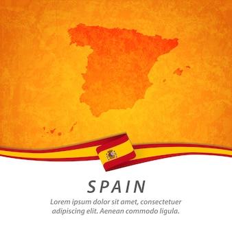 Bandera de españa con mapa central