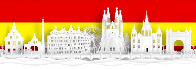 La bandera de españa y las señales famosas en papel cortan el ejemplo del vector del estilo.