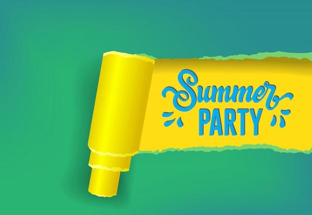 Bandera estacional de la fiesta de verano en colores amarillos, verdes y azules.