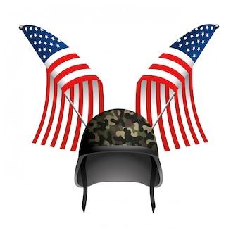 Bandera del estado unido con casco militar