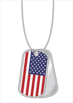 Bandera de estados unidos de américa en una etiqueta de perro de acero