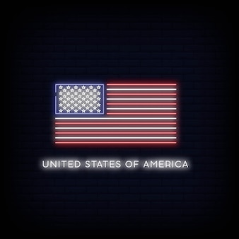 Bandera de estados unidos de américa neón signo