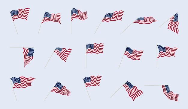Bandera de estados unidos en un asta de bandera en diferentes ángulos. pliegues de tela en banderas americanas. conjunto de ilustración vectorial.