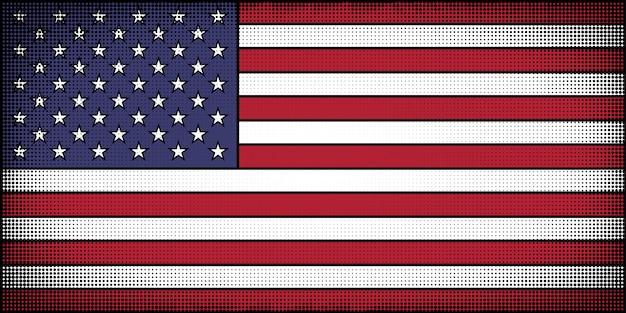 Bandera de los estados unidos en estilo de historieta de cómic.