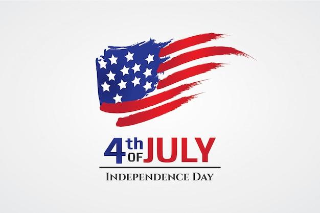 Bandera de estados unidos con estilo de trazo de pincel día de la independencia de américa