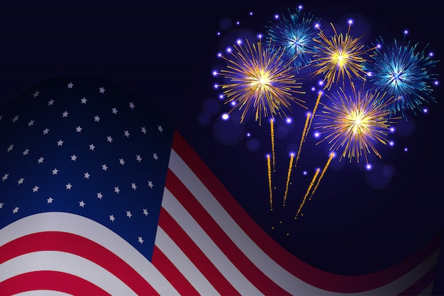 Bandera de estados unidos y fuegos artificiales azul dorado