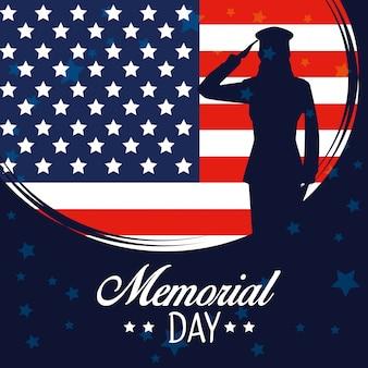 Bandera de estados unidos con soldado al día conmemorativo