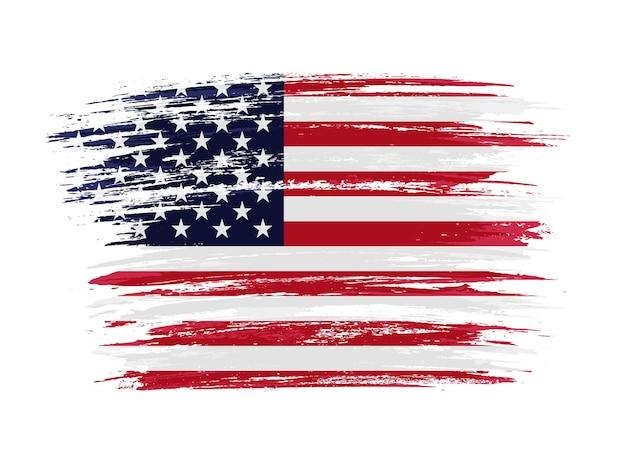 Bandera de estados unidos de trazo de pincel grunge