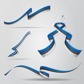 Bandera de estonia. conjunto de cintas de estonia. ilustración vectorial.