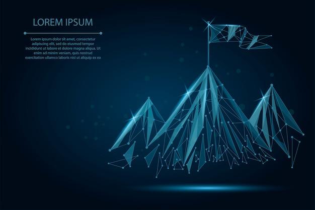 Bandera de estructura de alambre de baja poli en la cima de la montaña. éxito en los negocios, top o símbolo de gol.