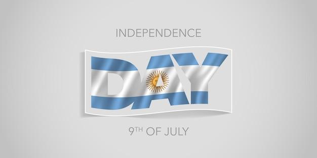Bandera del feliz día de la independencia de argentina. diseño de bandera ondulada argentina para la fiesta nacional del 9 de julio