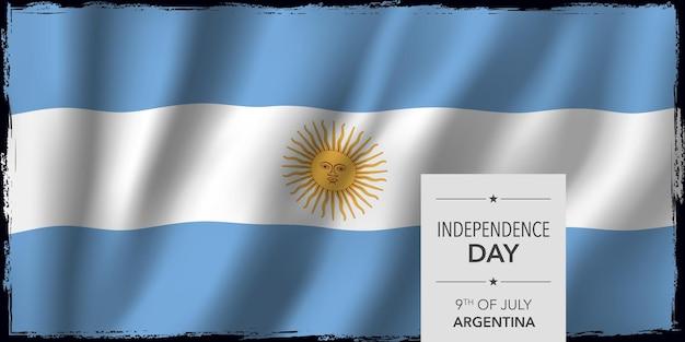 Bandera del feliz día de la independencia de argentina. fiesta nacional argentina 9 de julio diseño con bandera