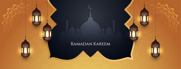 Bandera del festival de ramadán kareem con estilo religioso