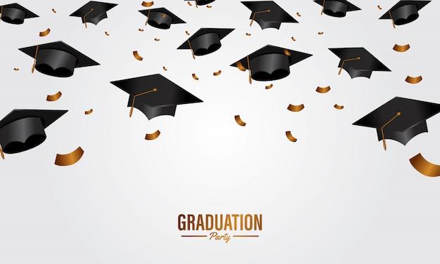 Bandera de la fiesta de graduación del concepto de la educación con el casquillo