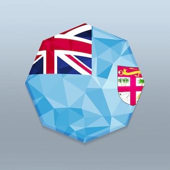 Bandera de fiji con vector de diseño octagone