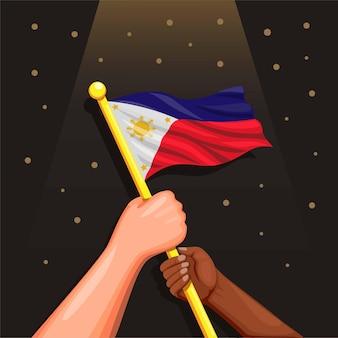 Bandera de filipinas en la mano de personas celeration 12 de junio día de la independencia del concepto de filipinas en dibujos animados