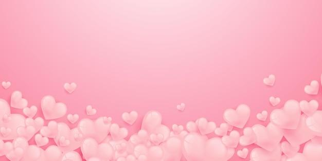Bandera de formas de corazón de amor con corazones de origami en plantilla de diseño de estilo de corte de papel