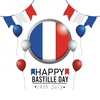 Bandera de francia emblema del círculo con banner de fiesta