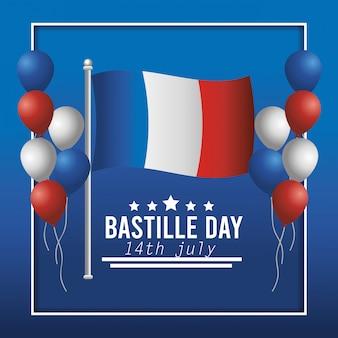 Bandera de francia y globos con decoración de estrellas.