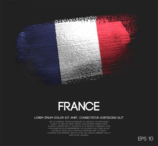 Bandera de francia hecha de glitter sparkle brush paint vector