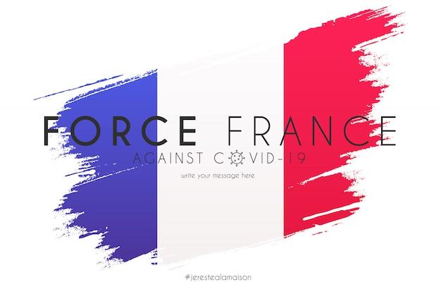Bandera de francia en salpicaduras de acuarela con mensaje de soporte