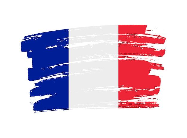 Bandera de francia de trazo de pincel grunge