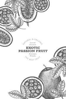 Bandera de fruta de la pasión de estilo boceto dibujado a mano. ilustración de vector de fruta fresca orgánica. plantilla de diseño de frutas exóticas retro