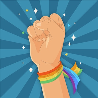 Bandera fuerte de puño y pulsera de arcoiris