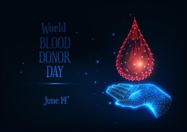 Bandera futurista del día mundial del donante de sangre con una mano humana poligonal baja y brillante que sostiene una gota de sangre