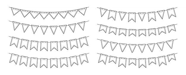 Bandera garland banderines fiesta de cumpleaños plano multicolor conjunto. banderines de banderines para celebración, decoración de festivales. aniversario, fiesta de celebración colgando banderas colección de dibujos animados. ilustración