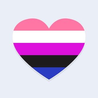 Bandera de género fluido en forma de corazón