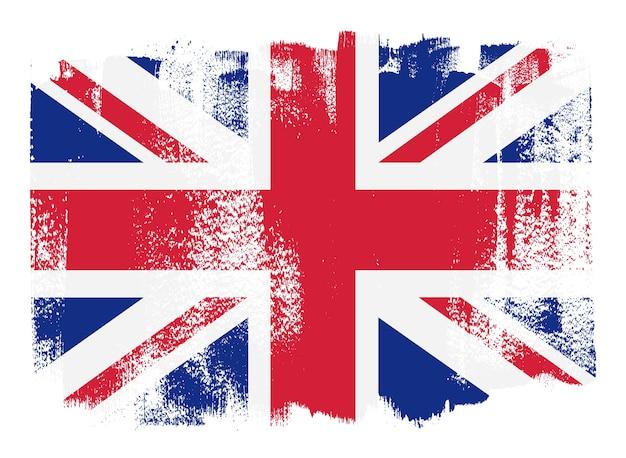 Bandera de gran bretaña de trazo de pincel