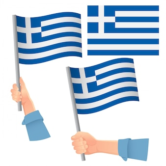 Bandera de grecia en mano set