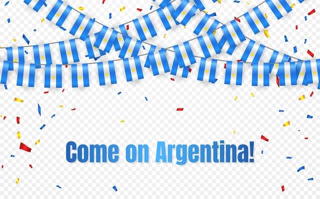Bandera de la guirnalda de argentina con confeti sobre fondo transparente, colgar banderines para banner de plantilla de celebración,