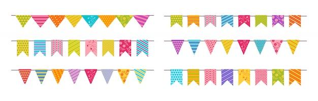 Bandera guirnalda banderines fiesta de cumpleaños conjunto plano.