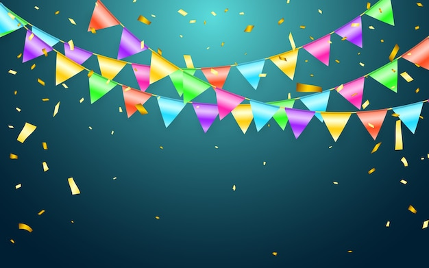 Bandera de guirnalda y confeti en concepto de fiesta y disfrute. plantilla de fondo de celebración.
