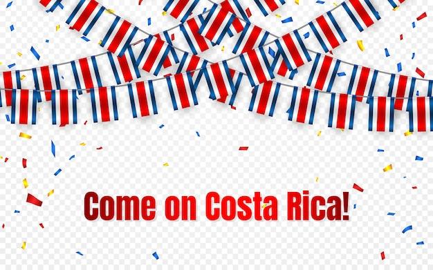 Bandera de guirnalda de costa rica con confeti sobre fondo transparente, colgar banderines para banner de plantilla de celebración,