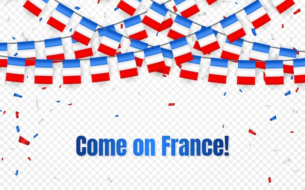 Bandera de guirnalda de francia con confeti sobre fondo transparente, colgar banderines para banner de plantilla de celebración francesa,