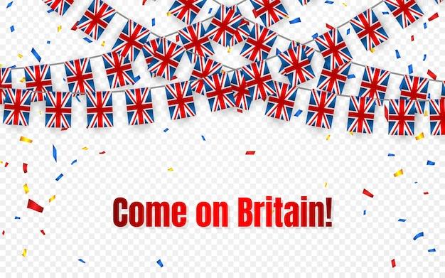 Bandera de guirnalda de gran bretaña con confeti sobre fondo transparente, colgar banderines para banner de plantilla de celebración,