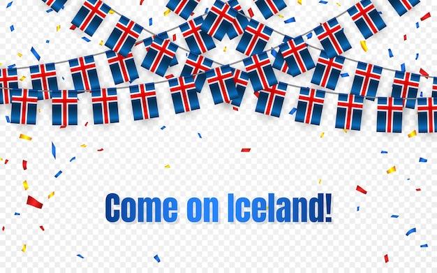 Bandera de guirnalda de islandia con confeti sobre fondo transparente, colgar banderines para banner de plantilla de celebración,