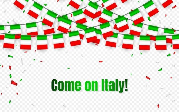 Bandera de guirnalda de italia con confeti sobre fondo transparente, colgar banderines para banner de plantilla de celebración, vamos italia,