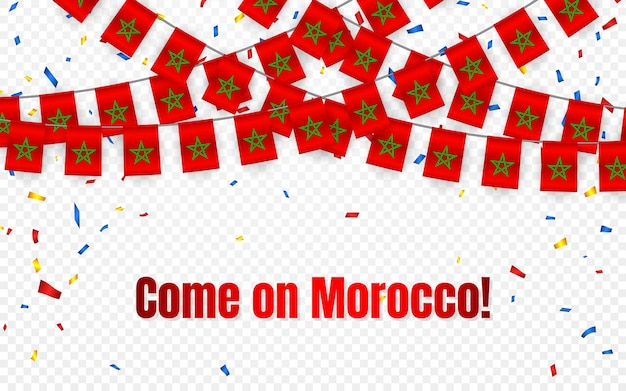 Bandera de guirnalda de marruecos con confeti sobre fondo transparente, colgar banderines para banner de plantilla de celebración,