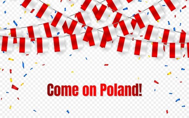 Bandera de guirnalda de polonia con confeti sobre fondo transparente, colgar banderines para banner de plantilla de celebración,