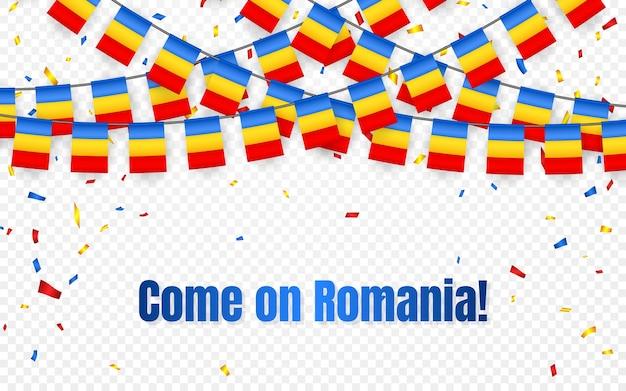 Bandera de guirnalda de rumania con confeti sobre fondo transparente, colgar banderines para banner de plantilla de celebración,