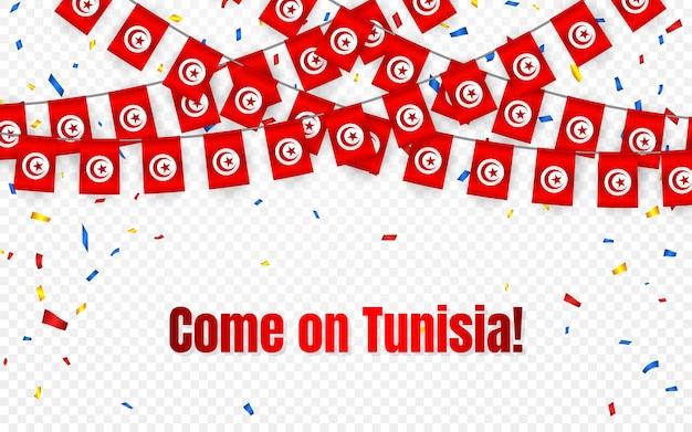 Bandera de guirnalda de tunicia con confeti sobre fondo transparente, colgar banderines para banner de plantilla de celebración,