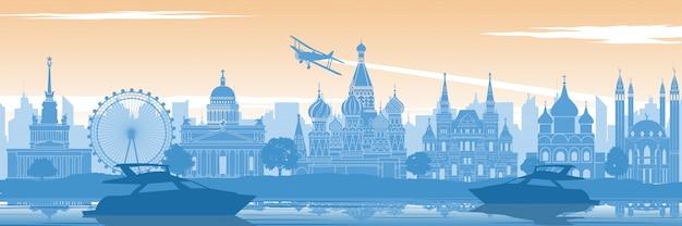 Bandera de hito famoso de rusia
