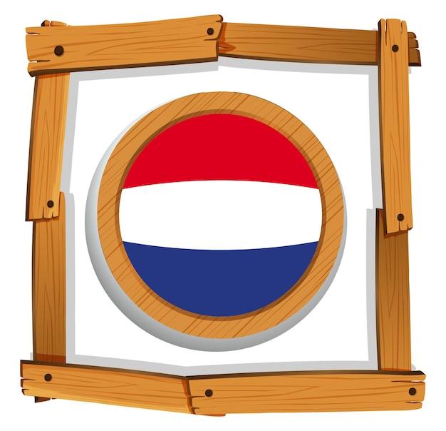 Bandera de holanda en marco de madera
