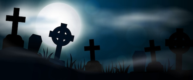 Bandera horizontal de cementerio nocturno, cruces, lápidas y tumbas. ilustración colorida de halloween de miedo.