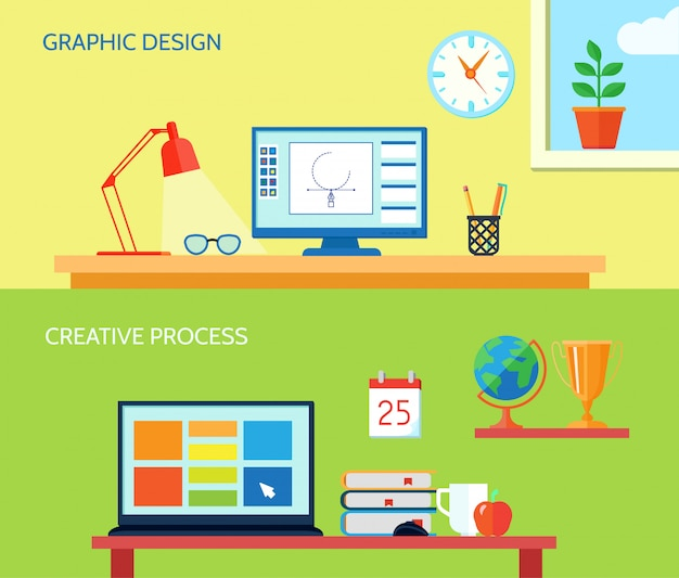 La bandera horizontal del espacio de trabajo del diseñador gráfico fijó con los elementos interiores del proceso creativo aislado ejemplo del vector